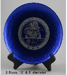 Blue art glass plate with hand hammered appearance from Global Recognition. Personalization is laser engraved into the plate.