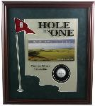Golf hole-in-one framed award with full imprint, suede mats and place for the honored ball