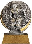 Male Basketball Motion-X SilverStone award from Global Recognition. The 3-D activity design features a male basketball player dribbling with a textured basketball on the circular backdrop. A budget-priced participation award. Includes a personalized plate on the base.