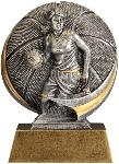 Female Basketball Motion-X SilverStone award. The 3-D activity design features a female basketball player dribbling a basketball with a textured basketball on the circular backdrop. A budget-priced participation award. Includes a personalized plate on the base.