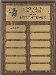 "This standard style walnut tone plaque from Global Recognition includes 12 plates and a standard gold-tone metal head plate. An ""Employee of the Month"" standard."