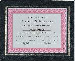 "This black leatherette certificate frame protects and displays     Display your certificate on a wall or a shelf with this black leatherette certificate holder with gold foil border from Global Recognition. Holds a standard 8 1/2"" x 11"" certificate, picture, or document."